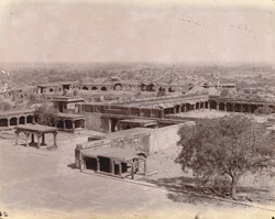 General view from the top of the Panch Mahal, looking north-east towards the Mint and Treasury, Fatehpur Sikri